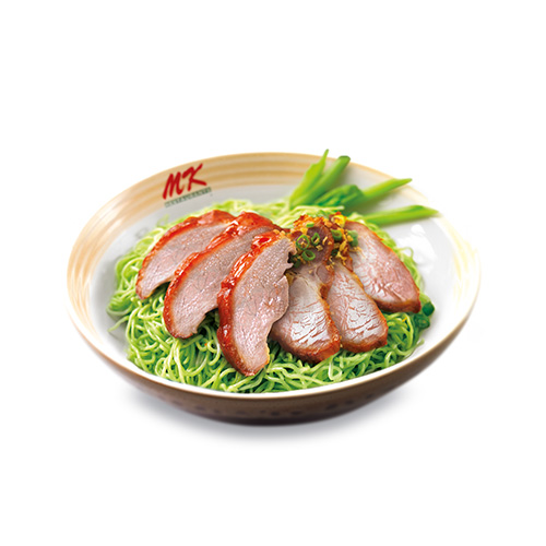 Green Noodles with Roasted Duck + Roased Pork